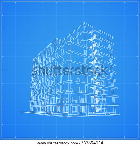 Abstract 3D rendering of wireframe building structure - Vector illustration - stock vector