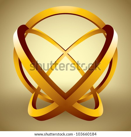 Abstract 3D shape made of rings, set of color versions, creative vector abstract icon. - stock vector