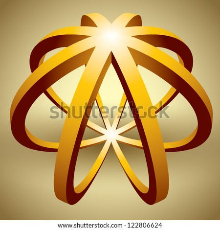 Abstract 3d shape made with circles. - stock vector