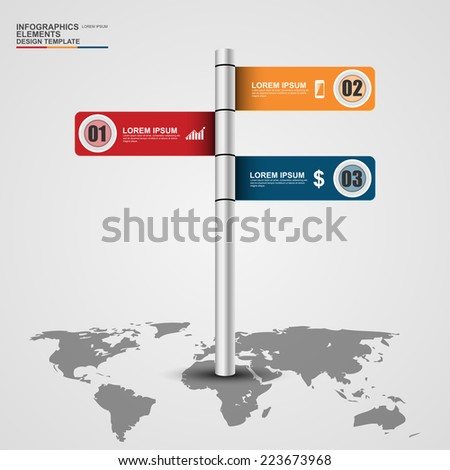 Abstract 3d signpost infographics design template - stock vector