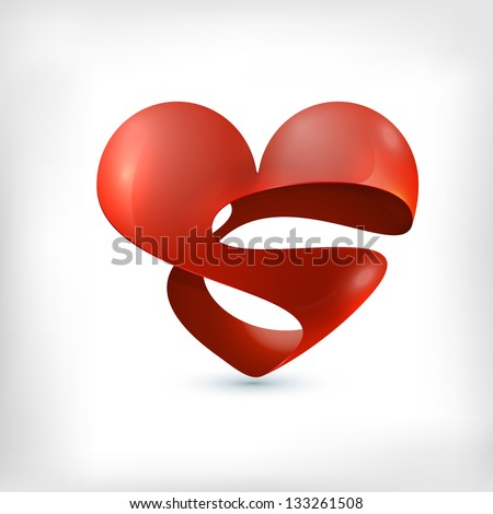 Abstract 3d spheric logo heart icon stock vector