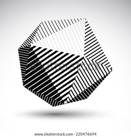 Abstract 3D spherical vector contrast pattern, art orb striped, graffiti monochrome sphere isolated on white background. - stock vector