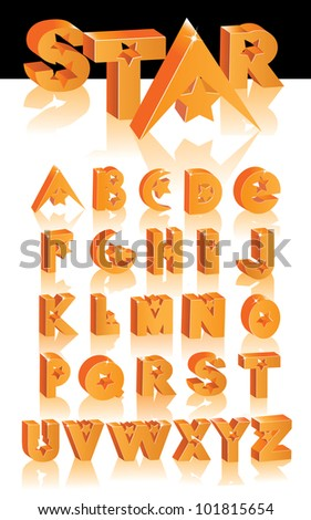 Abstract 3D Star Alphabet Letter A B C X Y Z Z Cube Symbol Icon Collection EPS 8 vector grouped for easy editing. - stock vector
