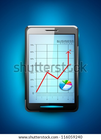 Abstract 3D statistics background, Business concept on a smart mobile screen. EPS 10. - stock vector