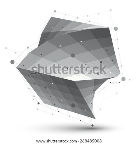 Abstract 3D structure polygonal vector network object, grayscale art deformed figure. - stock vector