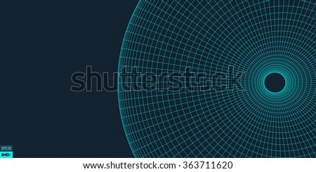 Abstract 3d Surface Looks Like Funnel. Futuristic Technology Style. Perspective Grid Background Texture. Vector Illustration. - stock vector