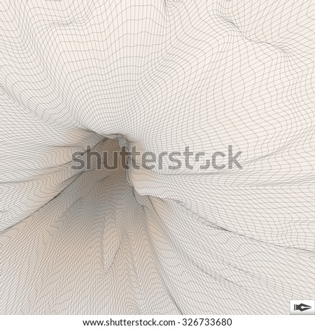 Abstract 3d Surface Looks Like Funnel. Mosaic. Futuristic Technology Style. Perspective Grid Background Texture. Vector Illustration. - stock vector