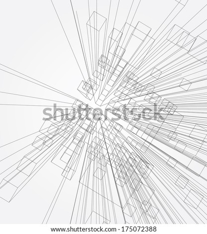 Abstract 3d vector background with cubes. - stock vector