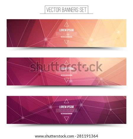 Abstract 3d vector digital technology web banners set. Internet technology vector background. Business abstract vector. Design vector elements  - stock vector