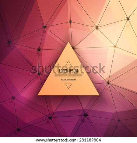 Abstract 3d vector technology background with triangle and wireframe structure. Vector digital background for web, applications, business. Abstract vector wallpaper. Science abstract vector background - stock vector