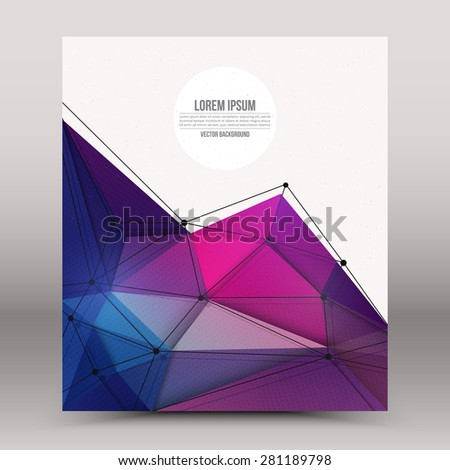 Abstract 3d vector technology colorful shape with wireframe structure background. Digital business abstract vector background. Flayer, brochure, card vector design. Science abstract vector background - stock vector