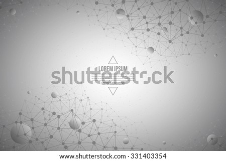 Abstract 3d vector technology gray background. Connection structure. Internet technology business vector background. Science vector background. Abstract vector wallpaper - stock vector