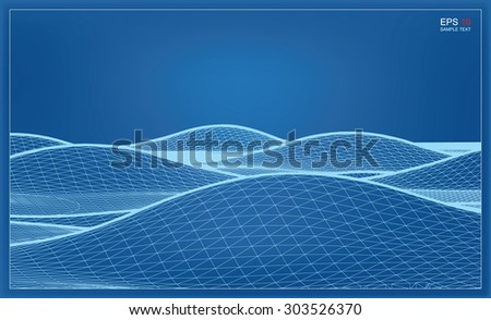 Abstract 3D wave wireframe blueprint of surrounding contour. Vector landscape graphic background.