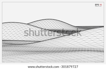 Abstract 3D wave wireframe of surrounding contour. Vector landscape graphic background.