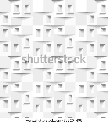 Abstract 3 D white geometrical background. Seamless pattern. Architectural structure with shadow. Simple clean white background texture. Vector interior wall panel pattern. - stock vector