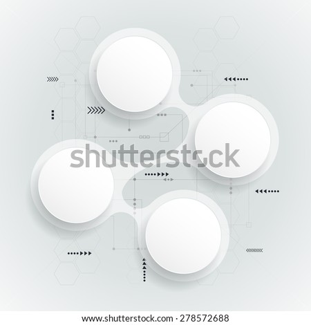 Abstract 3d white paper circle on light grey color circuit board background. Simply infographic step by step template design.can be used for workflow layout, diagram, number options, web design.  - stock vector