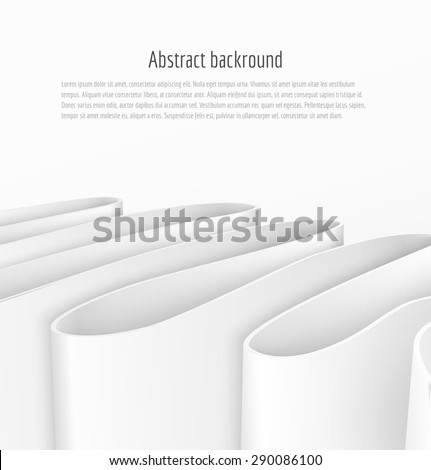 Abstract 3d white paper ribbon background brochure template business presentation. Vector illustration - stock vector