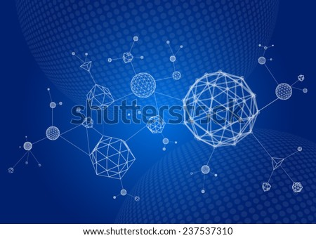 Abstract 3d wire frame molecules. Scientific atomic shapes in cyberspace. - stock vector