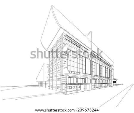 Abstract 3D wireframe of building. my design  - stock vector
