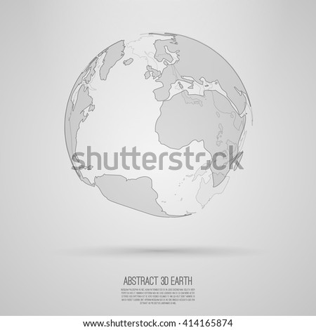 Abstract 3d world map  Vector earth globe  Decorative continents  Global network connection of planet   - stock vector