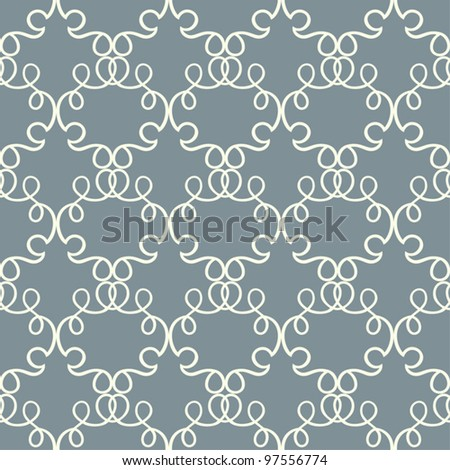 Abstract damask background, blue and white fashion seamless pattern, monochrome vector wallpaper, vintage fabric and wrapping with graphic ornament for decoration and  design - stock vector