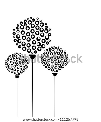 Abstract dandelion flowers, postcard for your design - stock vector