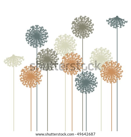 abstract dandelion silhouette - vector - stock vector