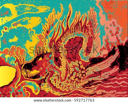 Abstract dangerous dragon illustration. Hand drawn fire beast. Orange, red, turquoise,