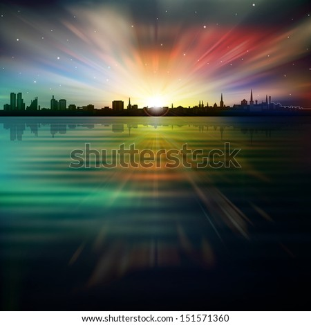 abstract dark background with silhouette of city stars and sunrise - stock vector