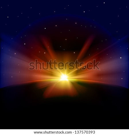 abstract dark background with stars and sunrise