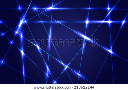 Abstract dark blue background with shiny rays - vector illustration - stock vector