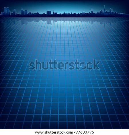 abstract dark blue background with silhouette of city - stock vector
