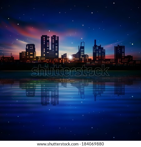 abstract dark blue background with silhouette of Tallinn and sunset - stock vector