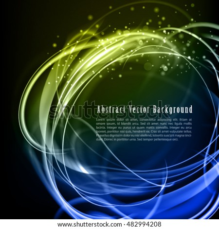 Abstract dark exquisite vector background. Shine cool vector frame with sparkle color lines