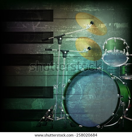 abstract dark green grunge background with drum kit - stock vector