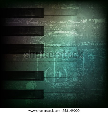 abstract dark green grunge background with piano keys - stock vector