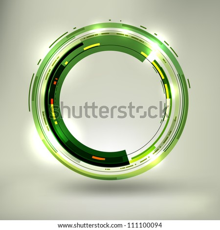Abstract dark green lightened rounds, forming a cool placeholder with flashes and light effects. EPS10 vector. - stock vector
