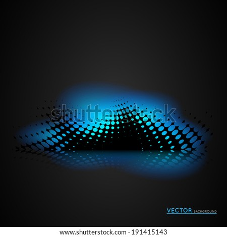 abstract dark halftone background design with glowing light effect