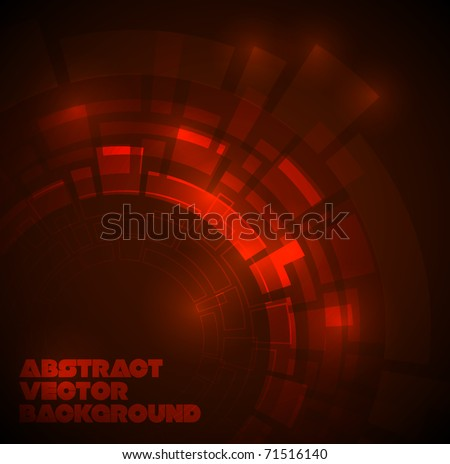 Abstract dark red technical background with place for your text - stock vector