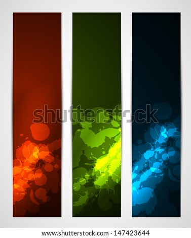 abstract dark vertical banners with splatters - stock vector