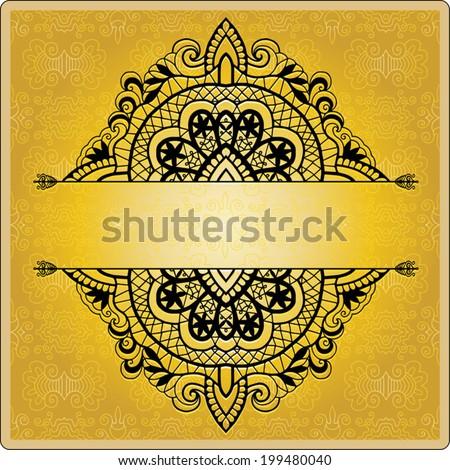 Abstract decoration, lace frame border pattern, ethnic ornament, wedding invitation birthday card design - stock vector