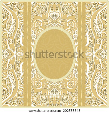 Abstract decoration, lace frame border pattern, ethnic ornament, wedding invitation card with place for your text - stock vector
