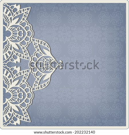 Abstract decoration, lace frame border pattern, ornamental pattern, wedding invitation card with place for your text - stock vector