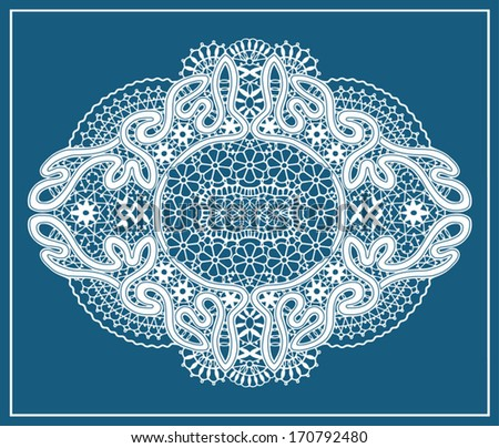 Abstract decoration. Ornamental lace doily pattern, seamless fabric with flowers, design element, hand drawn sketch border, ornate detailed background, white and blue - stock vector
