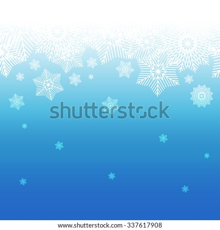 Abstract decorative  blue and white christmas background with snowflakes. Winter snowflakes background for Your design. Holiday Design for New Year Greeting Cards, Posters and Flayers.  - stock vector