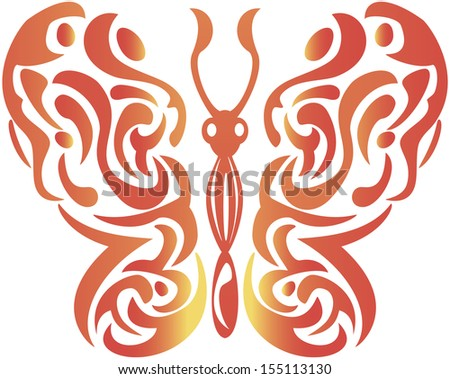 abstract decorative butterfly - vector illustration - stock vector