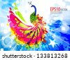 Abstract decorative colorful peacock  design. Vector background - stock vector