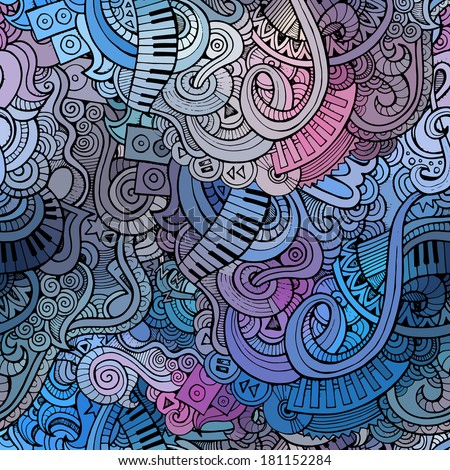 Abstract decorative doodles music seamless pattern - stock vector