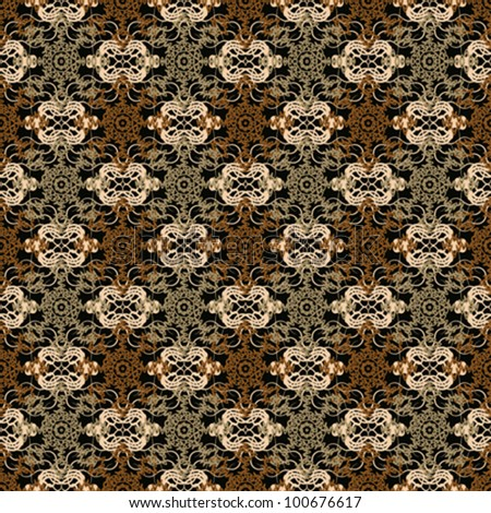 Abstract decorative lace grid ornament weaving fabric background. Seamless pattern. Vector.