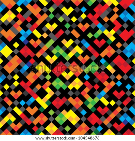 Abstract decorative pixelated colorful texture. Seamless pattern. vector.